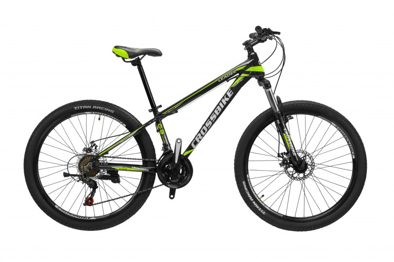 "Велосипед CrossBike Leader 24"" 12"" Черный-Желтый-Серый"
