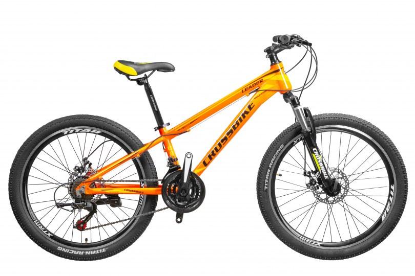 """Велосипед CrossBike Leader 26"""" 13"""" Черный-Оранжевый-Белый"""