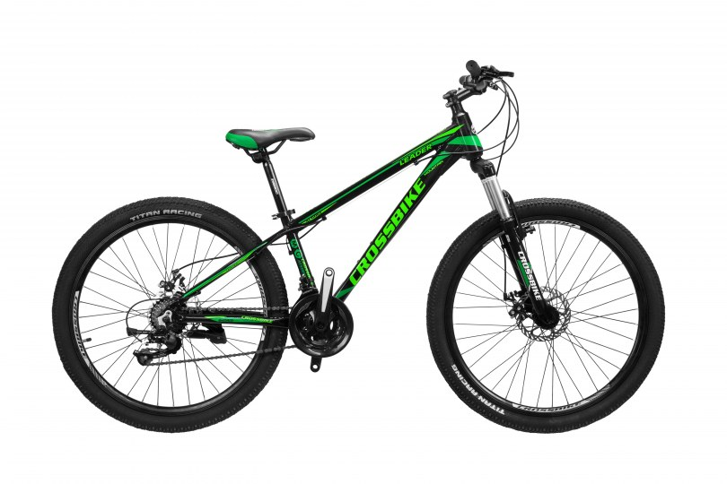 """Велосипед CrossBike Leader 26"""" 13"""" Черный-Темный зеленый-Зеленый"""