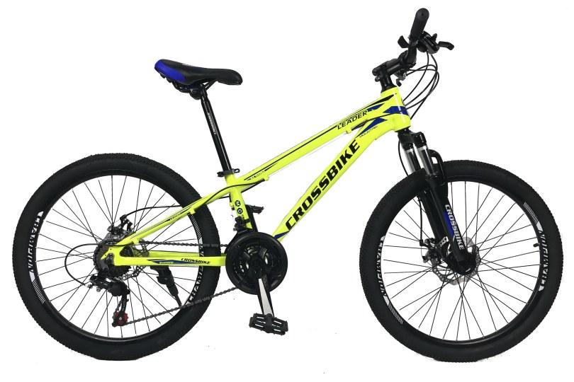 """Велосипед CrossBike Leader 24"""" 12"""" Неоновый желтый"""