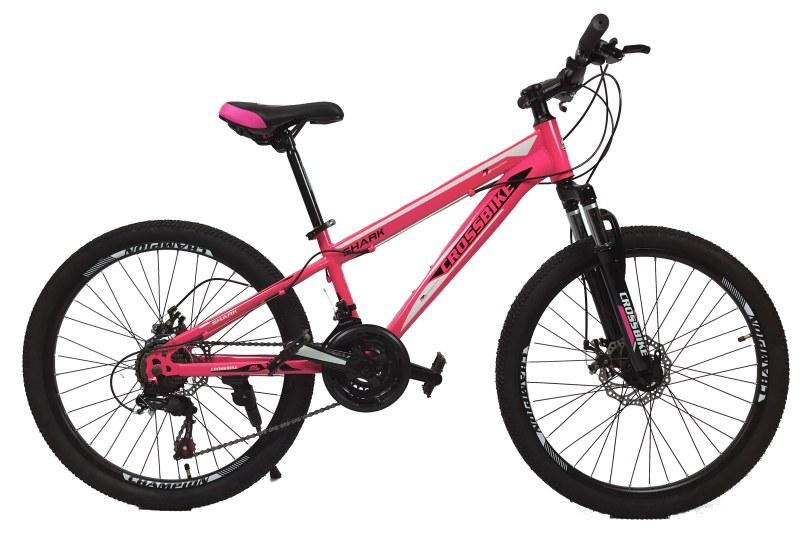 """Велосипед CrossBike Shark 24"""" 11"""" Розовый-Черный-Белый"""