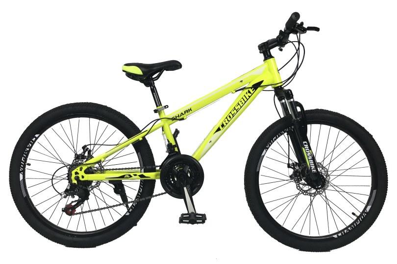 """Велосипед CrossBike Shark 24"""" 11"""" Салатовый-Черный-Белый"""