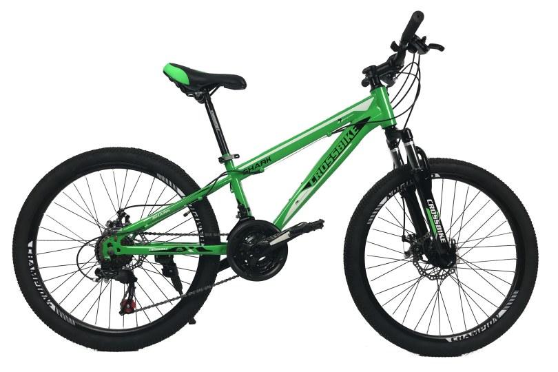 """Велосипед CrossBike Shark 24"""" 11"""" Зеленый-Черный-Белый"""
