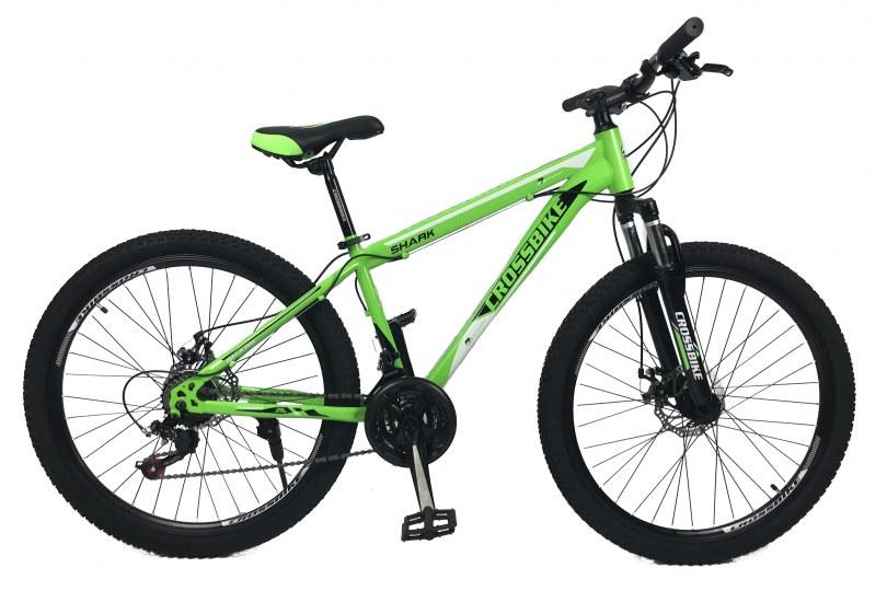 """Велосипед CrossBike Shark 26"""" 15"""" Зеленый-Черный-Белый"""