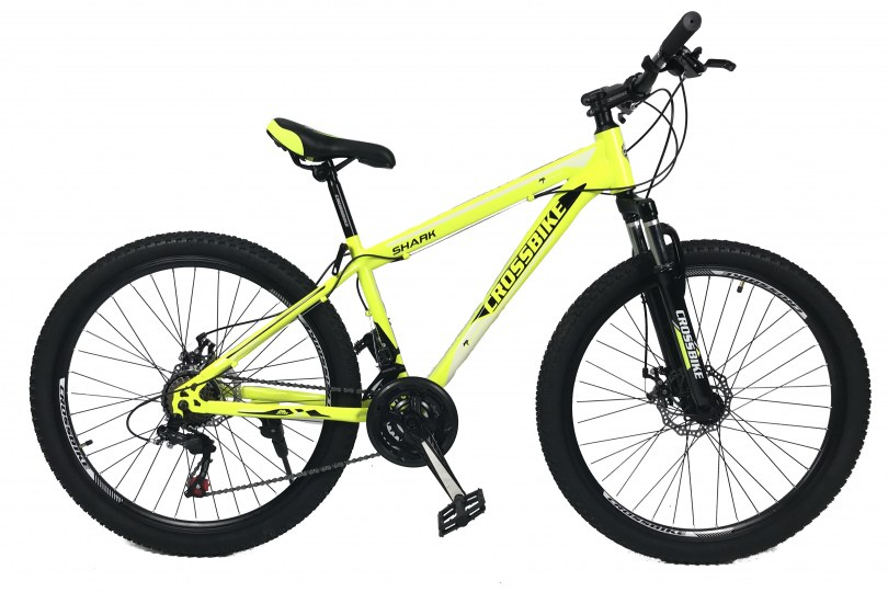 """Велосипед CrossBike Shark 26"""" 15"""" Неоновый желтый-Черный-Белый"""