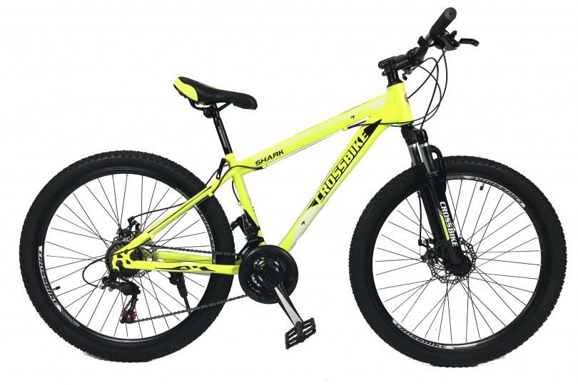 """Велосипед CrossBike Shark 26"""" 17"""" Неоновый желтый-Черный-Белый"""