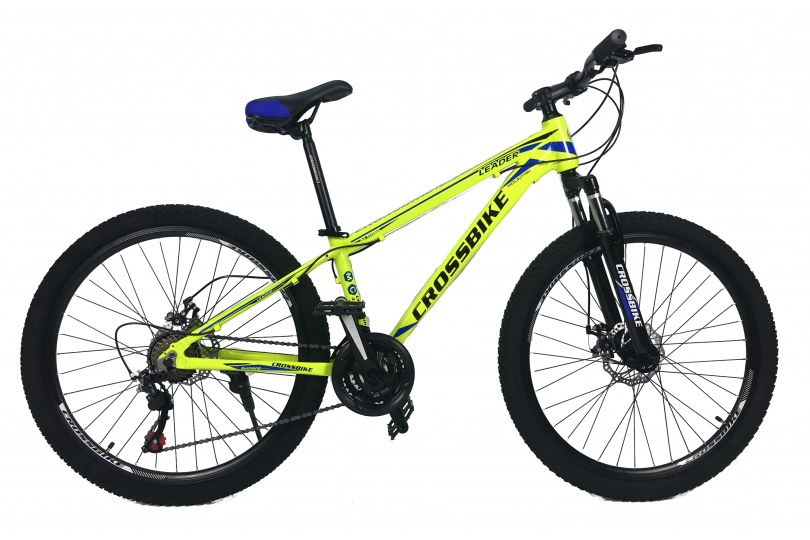 """Велосипед CrossBike Leader 26"""" 15"""" Неоновый желтый"""