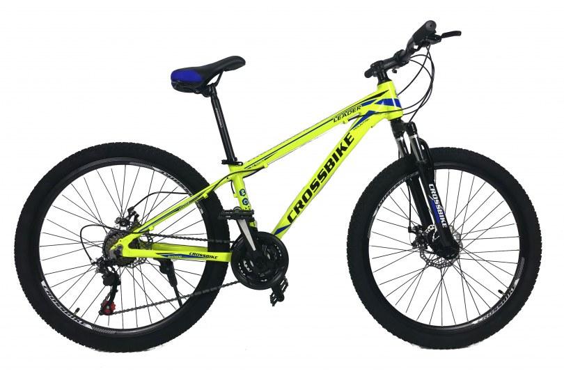 """Велосипед CrossBike Leader 26"""" 13"""" Неоновый желтый"""