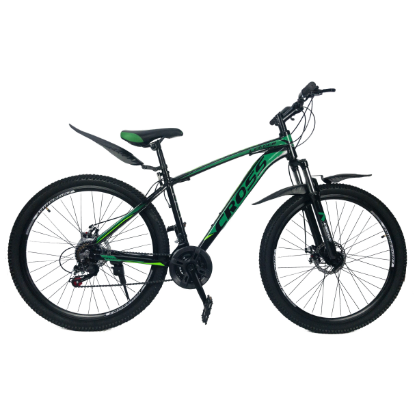 """Велосипед Cross Leader V2 27.5"""" 19"""" Черный-Темный зеленый-Зеленый"""