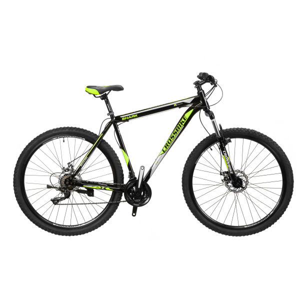 """Велосипед CrossBike Shark 27.5"""" 19,5"""" Черный-Зеленый-Серый"""