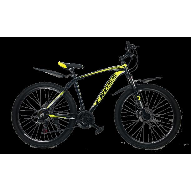 """Велосипед Cross Leader V2 27.5"""" 17"""" Черный-Неоновый Желтый-Белый"""