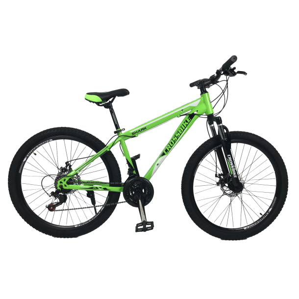 """Велосипед CrossBike Shark 26"""" 13"""" Зеленый-Черный-Белый"""