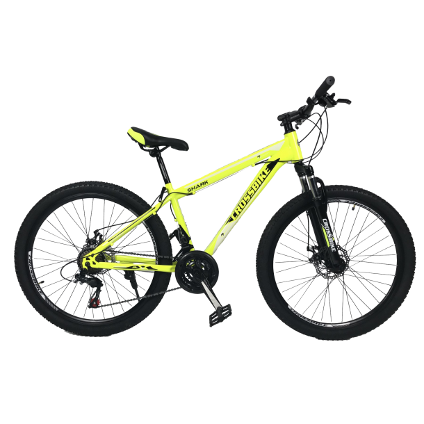 """Велосипед CrossBike Shark 26"""" 13"""" Неоновый желтый-Черный-Белый"""